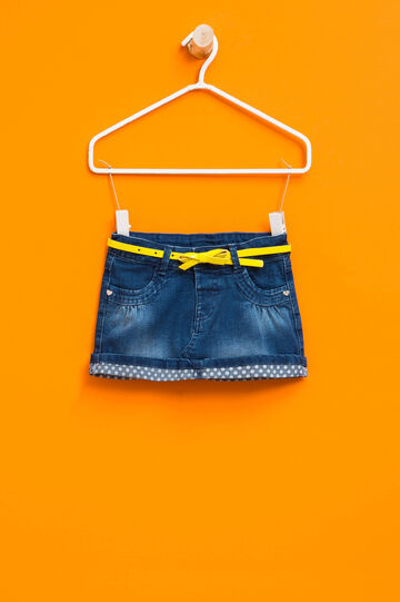 Stretch denim skirt with belt, Denim, hi-res