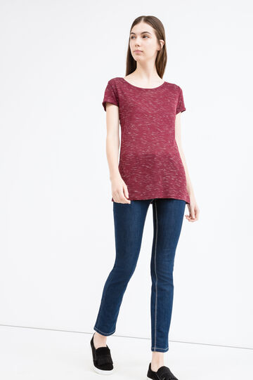 Viscose T-shirt with turned-up sleeves, Red, hi-res