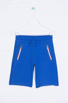 Solid colour 100% cotton Bermuda shorts, Cornflower Blue, hi-res