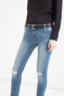 Jeans stretch con strappi, Blu, hi-res