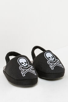 Slippers with embroidery and skulls print, Black, hi-res