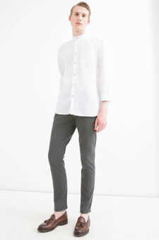 Slim-fit chino trousers in stretch twill, Dark Grey, hi-res