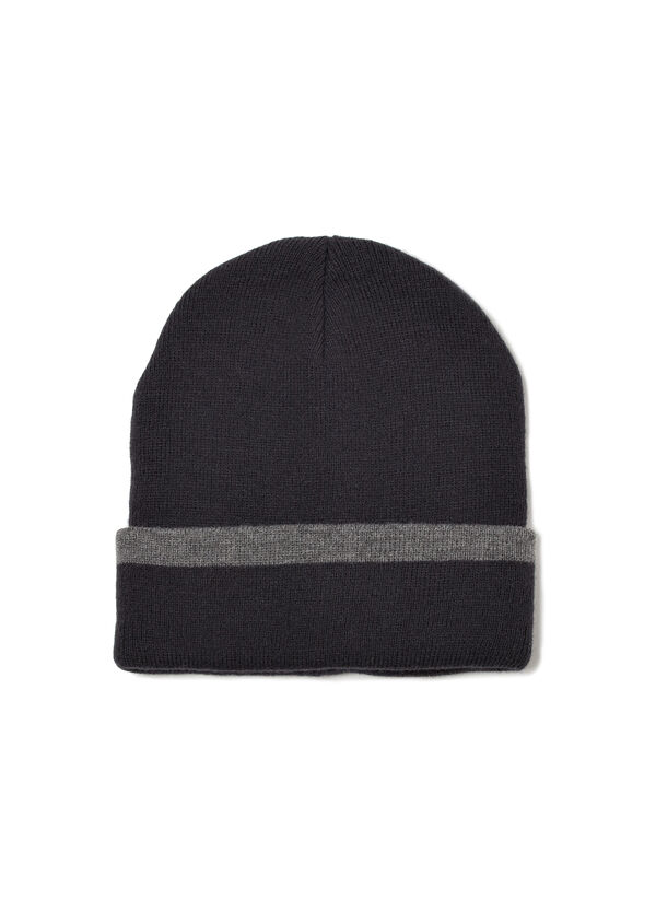 Beanie cap with turn-up brim in contrasting colour | OVS