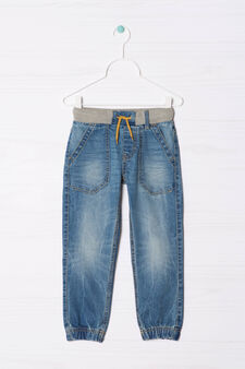 Worn-effect jeans with drawstring, Denim Blue, hi-res