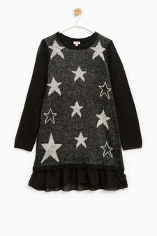 Dress with round neck and stars pattern, White/Black, hi-res