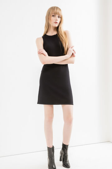 Sleeveless short dress in viscose blend, Black, hi-res