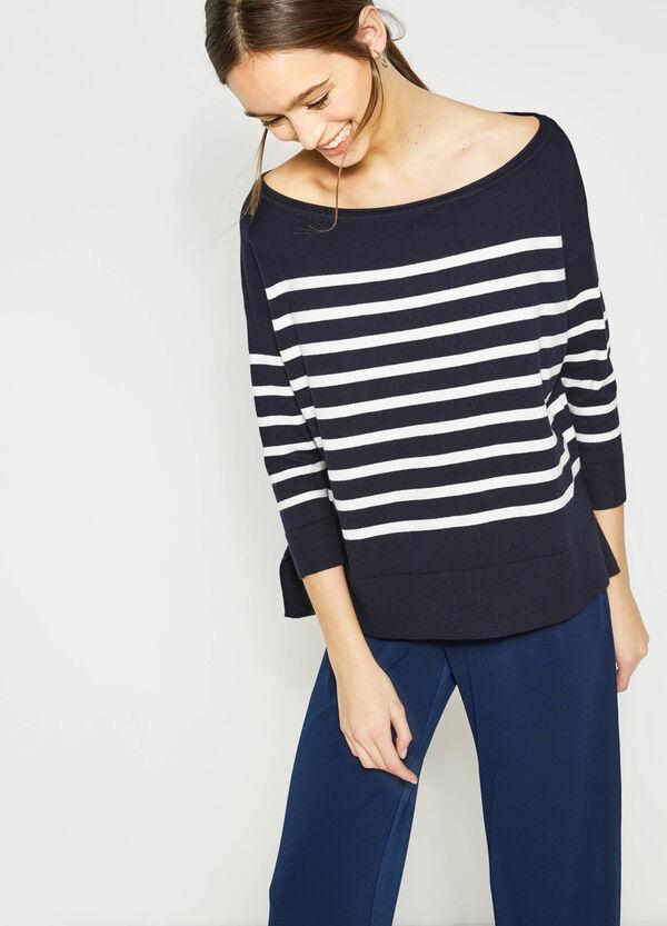 Striped stretch cotton pullover | OVS