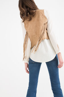 Short leather look waistcoat with fringe, Beige, hi-res