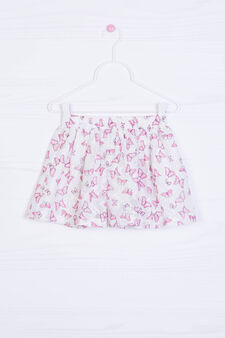 Skirt with all-over butterfly print, White, hi-res