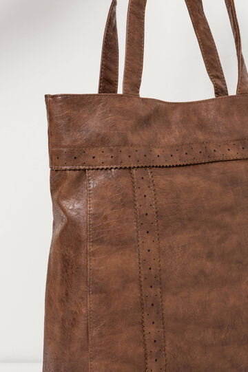 Hammered-effect shopping bag, Leather Brown, hi-res