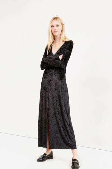 Long stretch velvet dress with split, Black, hi-res
