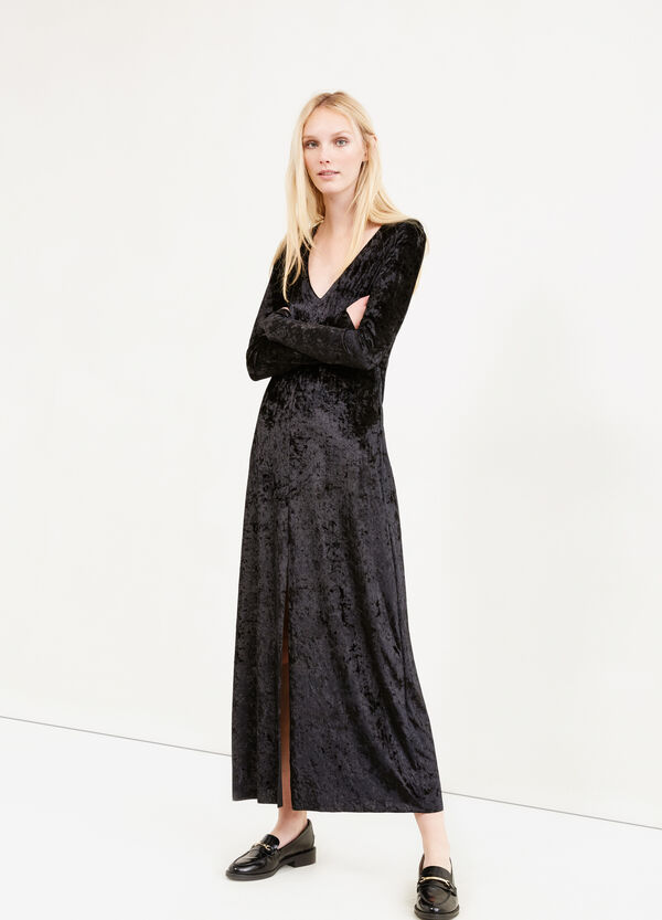 Long stretch velvet dress with split | OVS