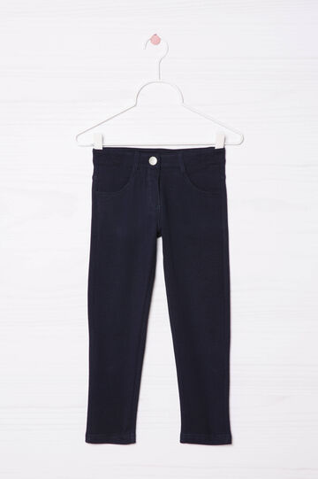 Stretch cotton trousers, Navy Blue, hi-res