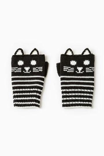 Striped fingerless gloves, Black/White, hi-res