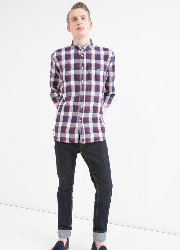 Check linen and cotton blend shirt | OVS