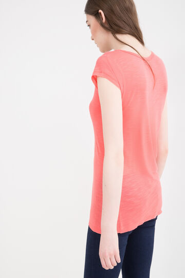 Viscose blend T-shirt with buttons, Orange, hi-res