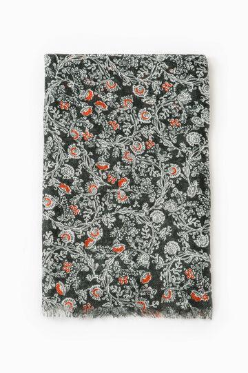 Floral print scarf, Orange, hi-res