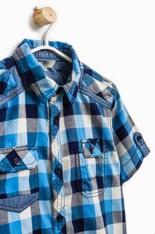 Check cotton shirt, White, hi-res