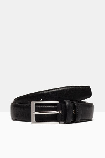Hammered leather look belt., Black, hi-res