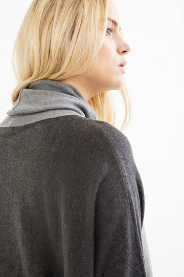 Curvy long knitted pullover with high neck, Grey, hi-res