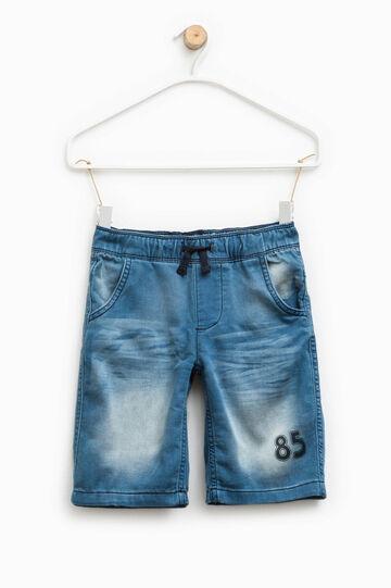 Printed stretch denim Bermuda shorts, Soft Blue, hi-res