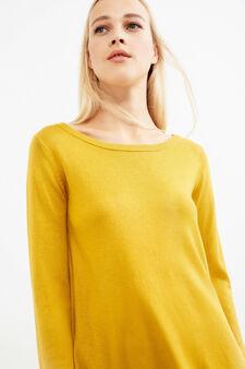 Boat neck Smart Basic pullover, Ochre Yellow, hi-res