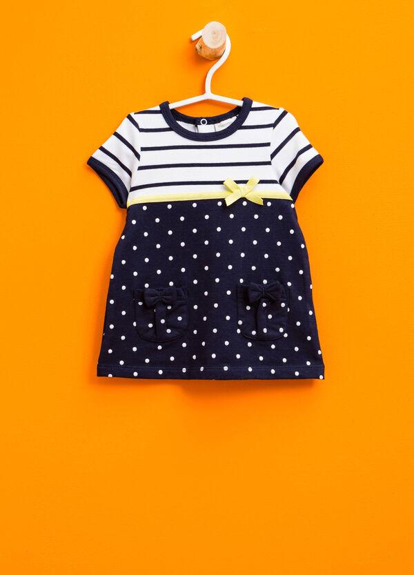 Stretch striped and polka dot cotton dress | OVS