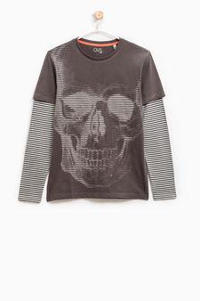 Printed T-shirt in 100% cotton, Grey, hi-res