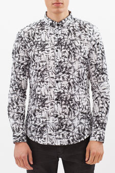 Patterned shirt in 100% cotton, White, hi-res