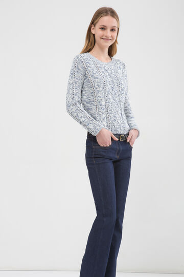 100% cotton pullover with openwork design, White/Blue, hi-res