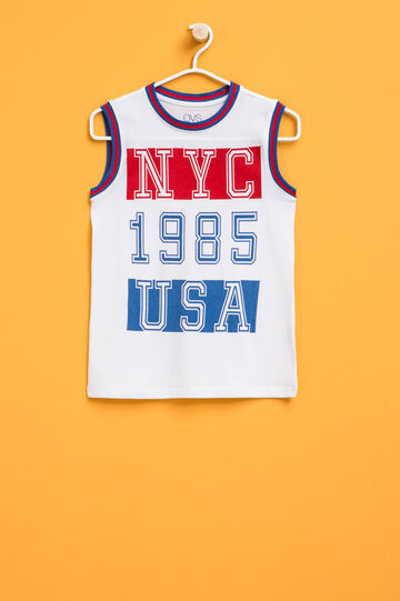 Vest top with round neck and printed lettering