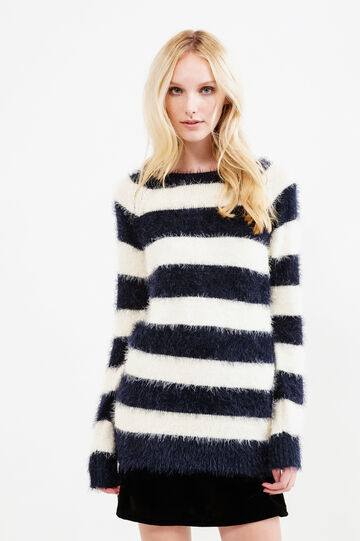 Striped shaggy pullover, White/Blue, hi-res
