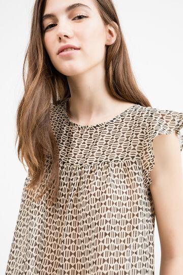 Georgette blouse with flounces, Beige, hi-res