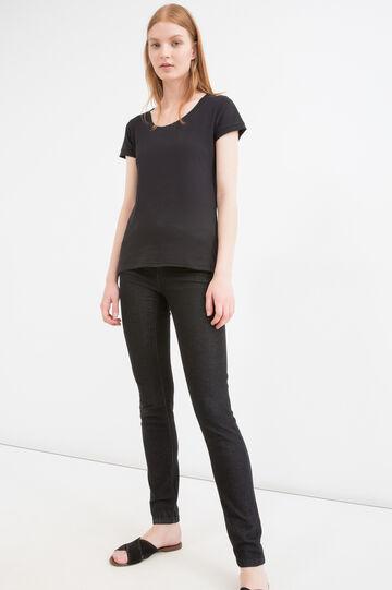 Solid colour T-shirt in 100% cotton, Black, hi-res