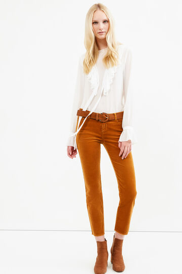 Solid colour stretch trousers, Ochre Yellow, hi-res