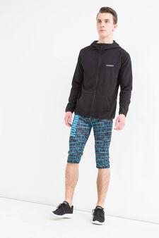 Pantaloni a tre quarti sportivi stretch, Nero, hi-res