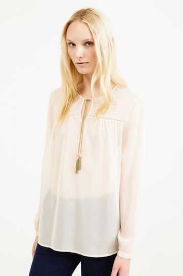 Semi-sheer blouse with long sleeves, Powder Pink, hi-res
