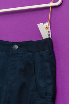 Solid colour trousers with elastic waist, Navy Blue, hi-res