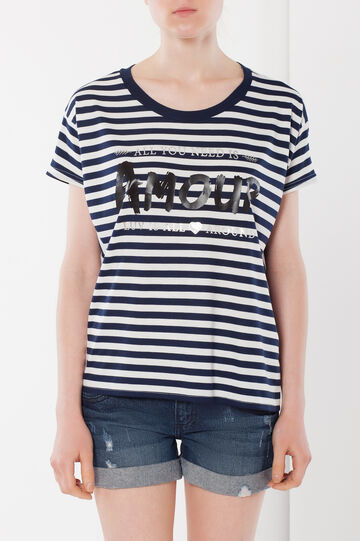 T-shirt with print and glitter, White/Black, hi-res