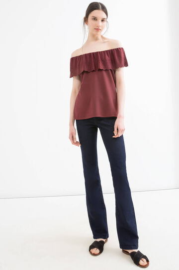 Solid colour stretch top, Wine Purple, hi-res