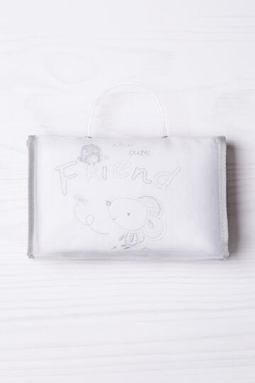 Copertina per culla puro cotone, Bianco/Grigio, hi-res