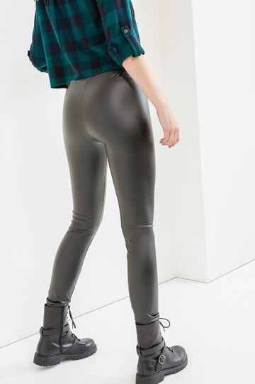 Solid colour shiny leggings, Black, hi-res