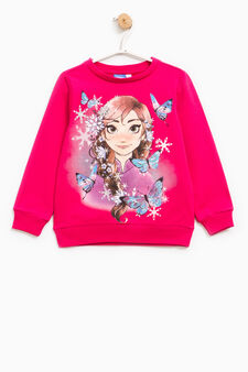 Sweatshirt with Frozen glitter print, Fuchsia, hi-res