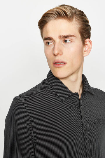 Slim-fit striped-patterned casual shirt, Black/Grey, hi-res