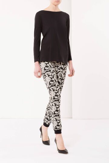 Floral trousers, White/Black, hi-res