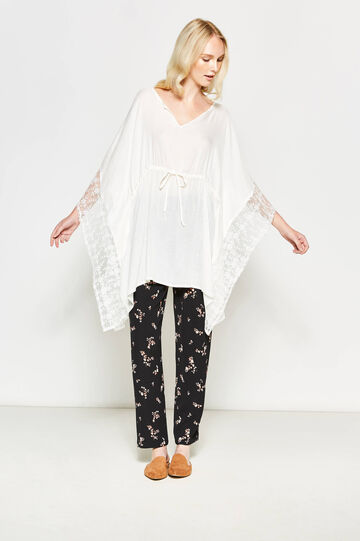 Viscose kaftan with lace