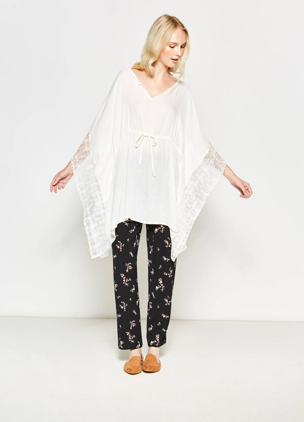Viscose kaftan with lace | OVS