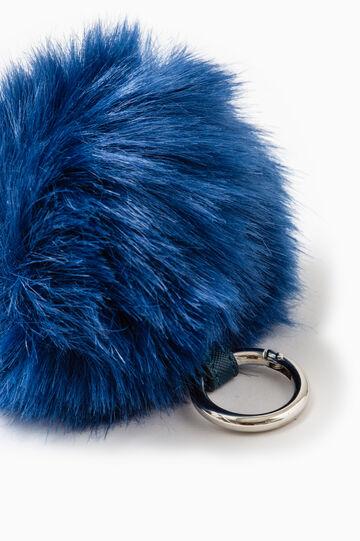 Portachiavi pon pon in pelliccetta, Blu chiaro, hi-res