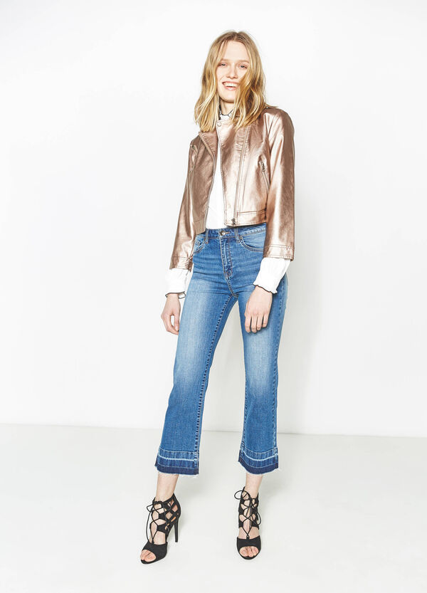Shiny crop jacket with lapels | OVS
