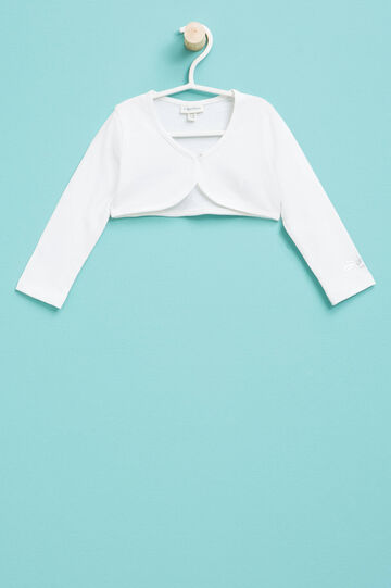Shrug in cotton with print, White, hi-res